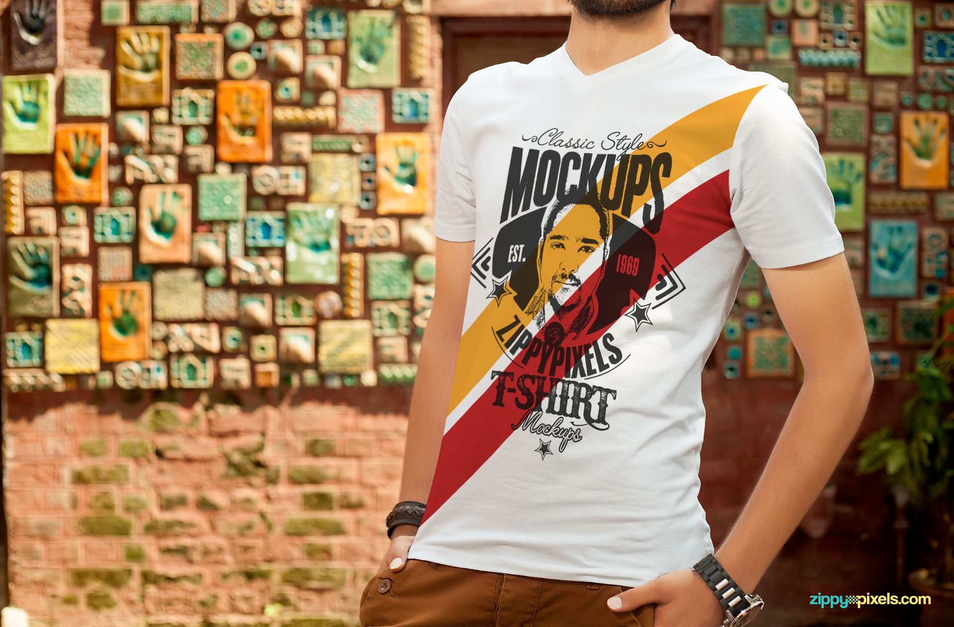 V-neck T-shirt PSD Mockup with beautiful background