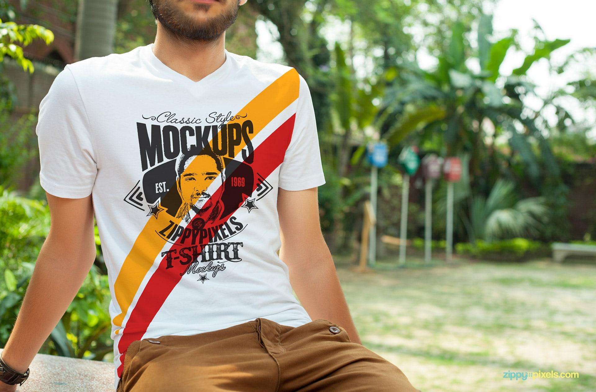 11 stylish v neck t shirt mockups changable colors