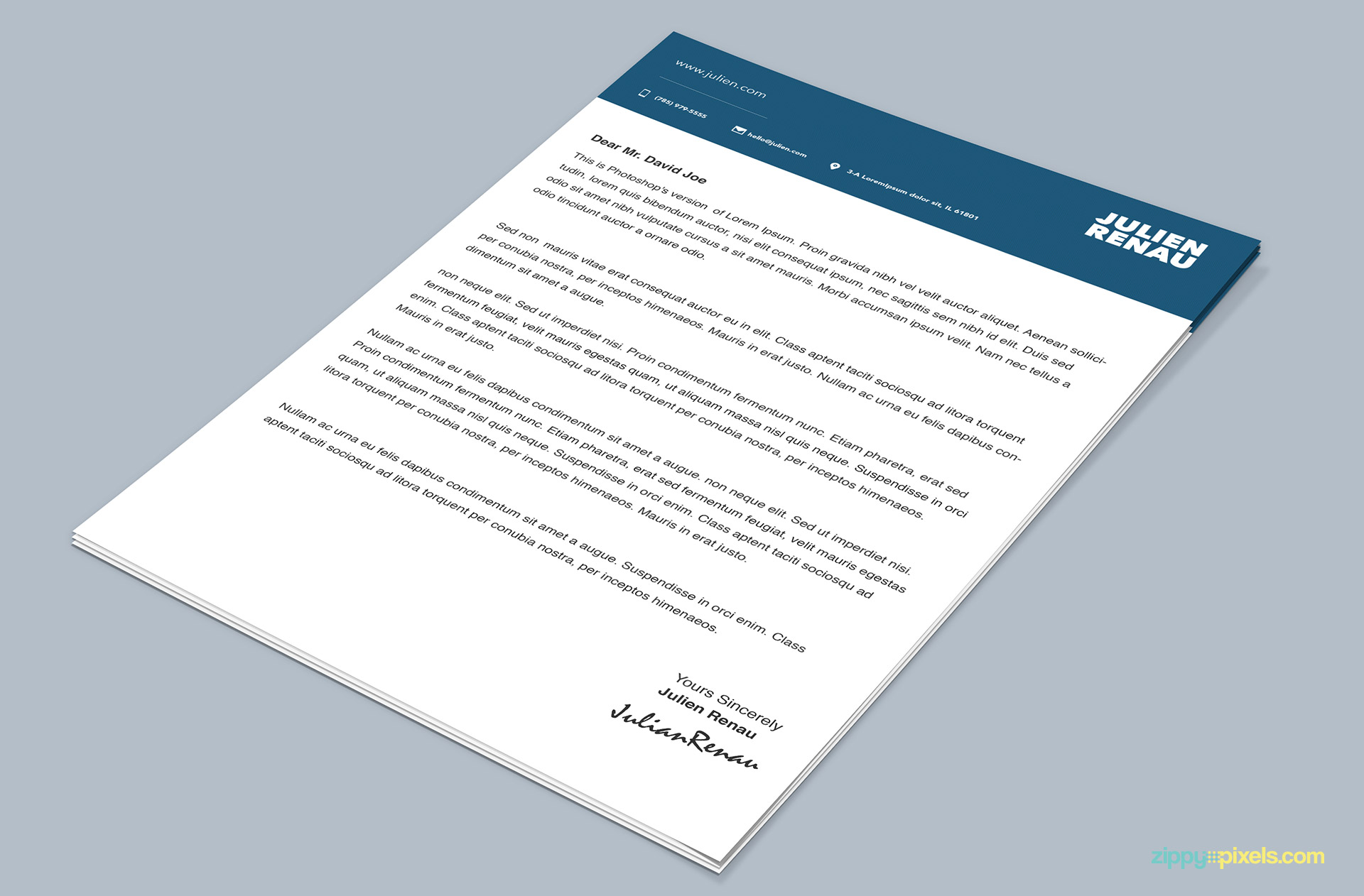 Professional Cover Letter PSD Template