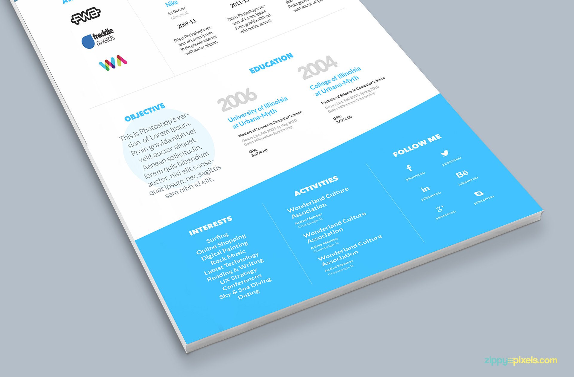 Minimalistic One Page Resume Template And Cover Letter  Zippypixels