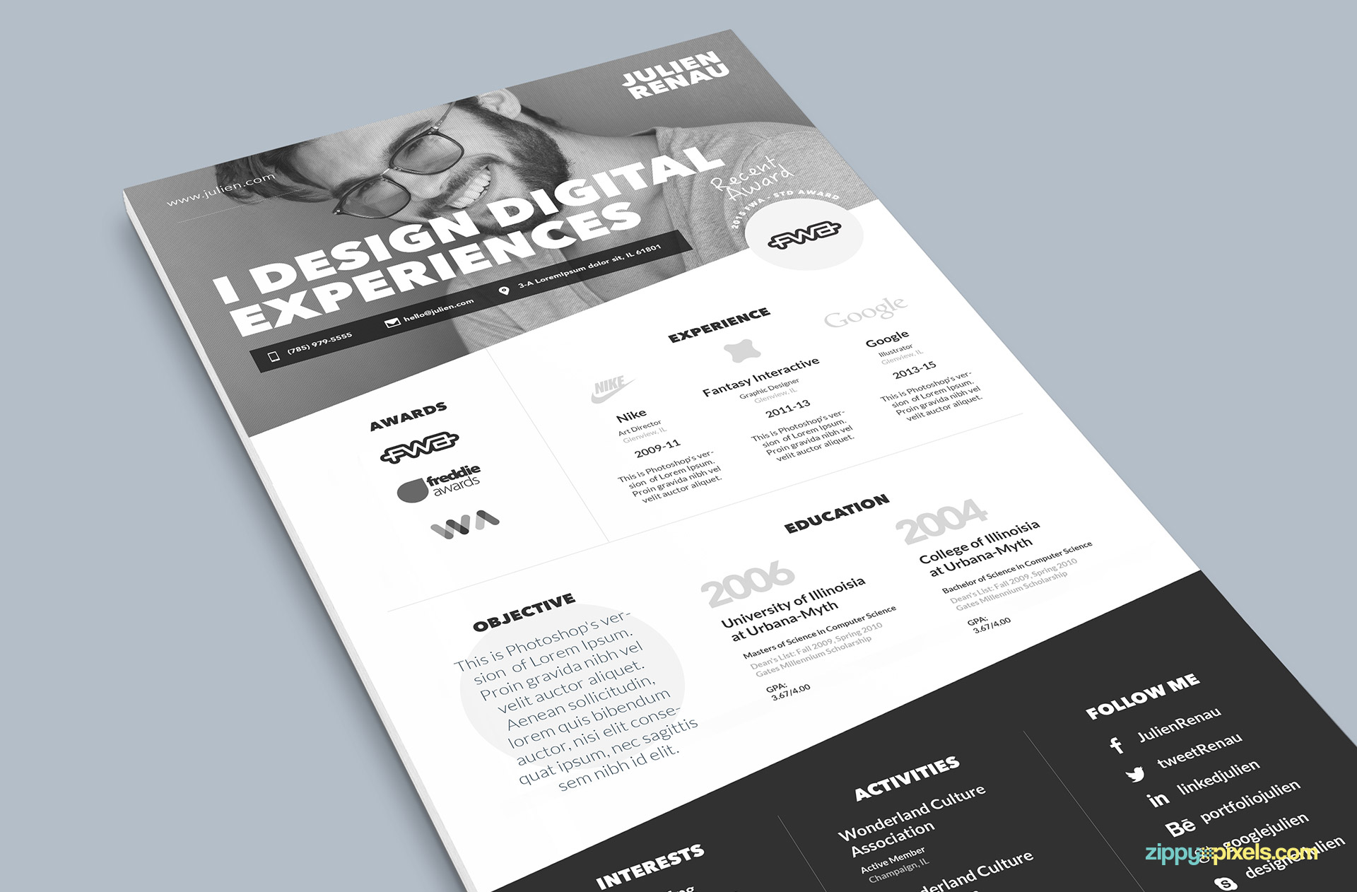 Black One Page Resume PSD Template