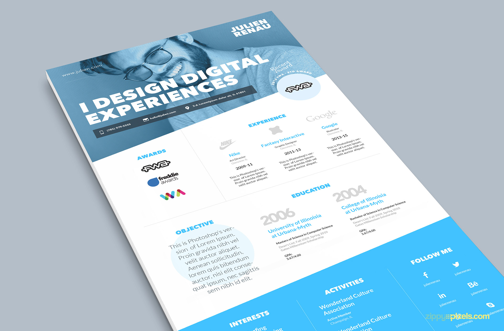 Minimalistic one page resume template and cover letter zippypixels blue one page resume psd template maxwellsz