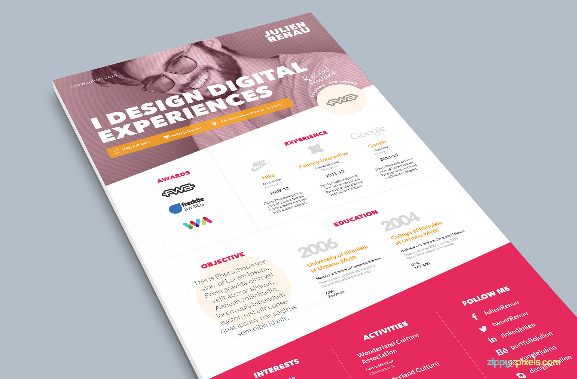 Pink One Page Resume PSD Template
