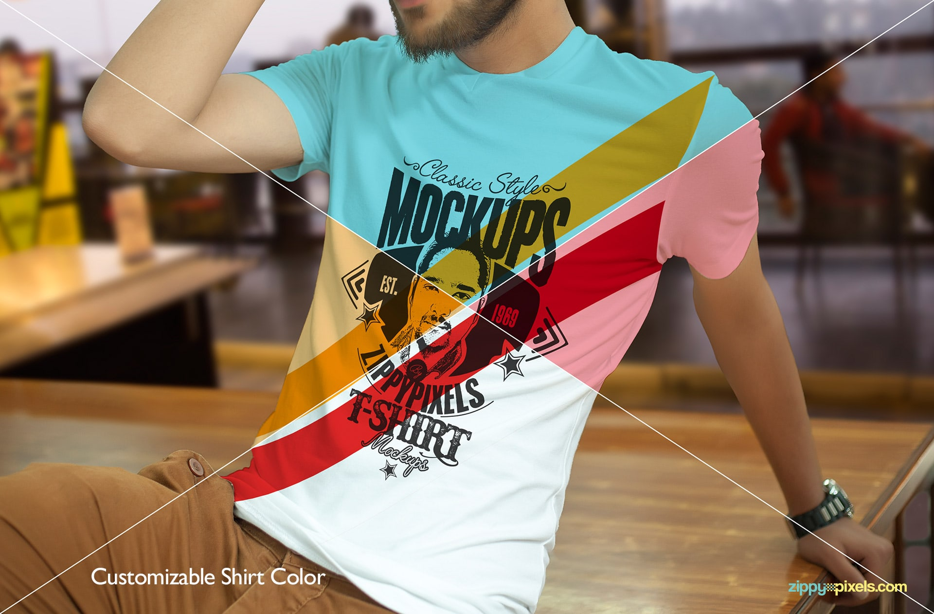 T-shirt mockups with customizable shirt colors