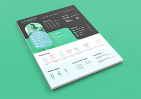 Modern Resume PSD Template with Cover Letter in 4 Colors