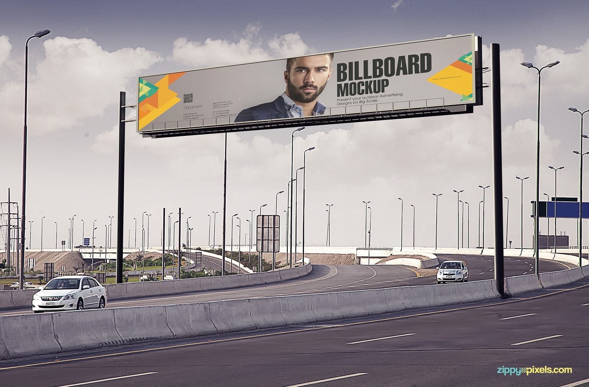 Realistic Billboard Mockup - Amazing view of the highway with the billboard on the top at day time