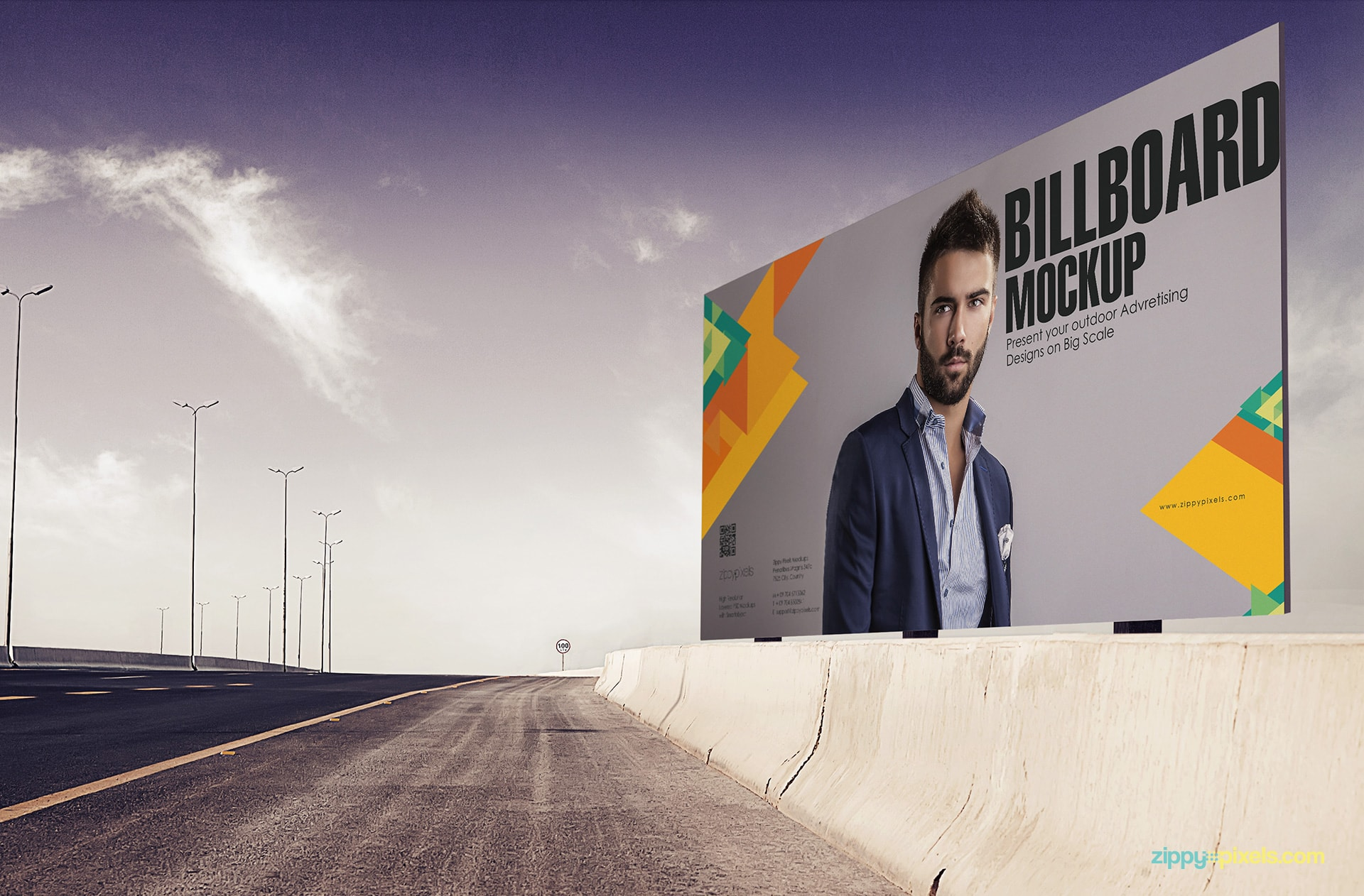Photorealistic Billboard mockup for showing your billboard design on the side of the highway