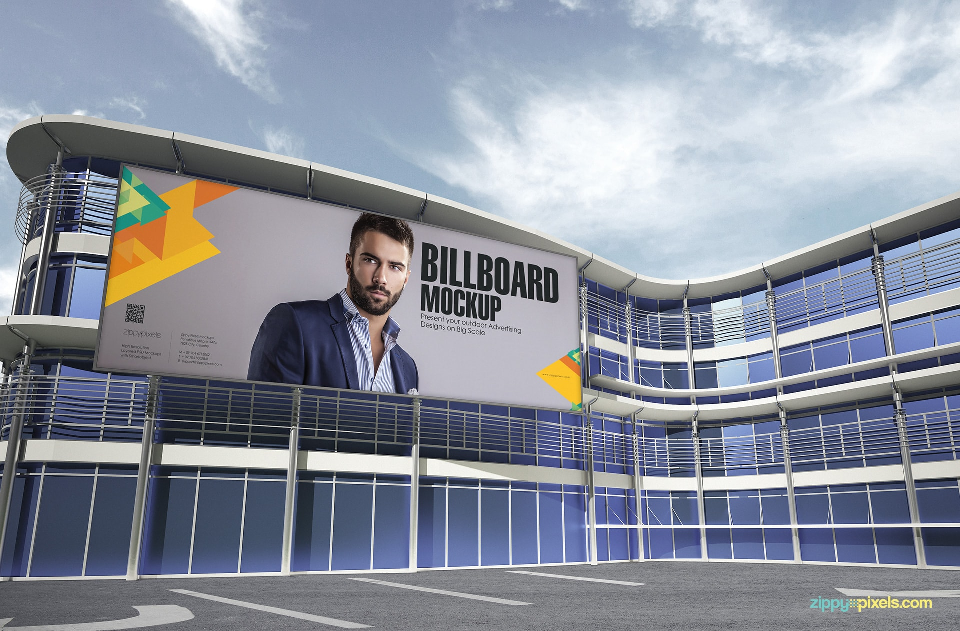 Outdoor Advertising Mockup - Billboard on the glass building at day time