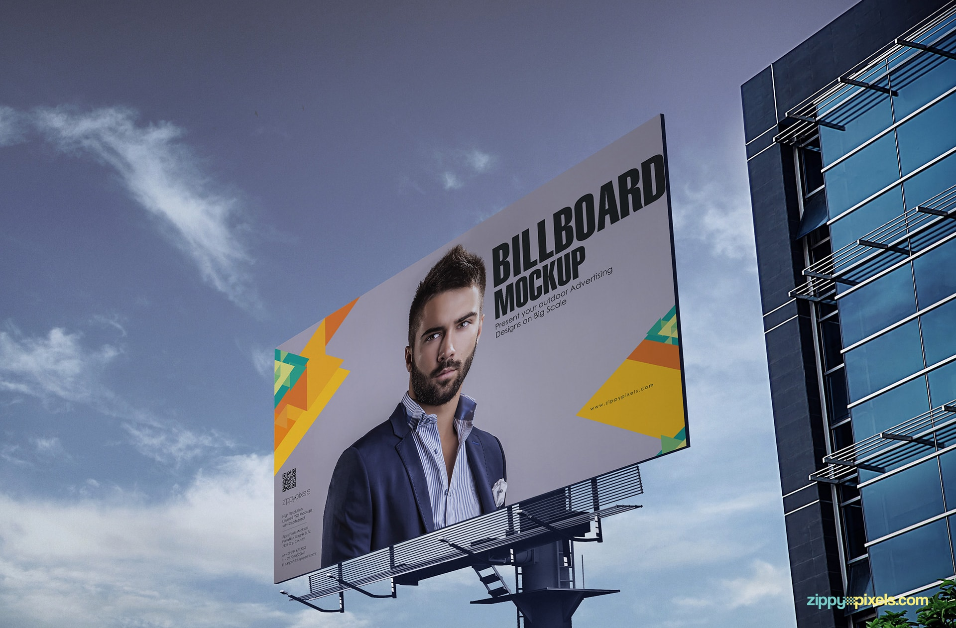 Photorealistic outdoor mockup showing a super large billboard with beautiful blue sky in background