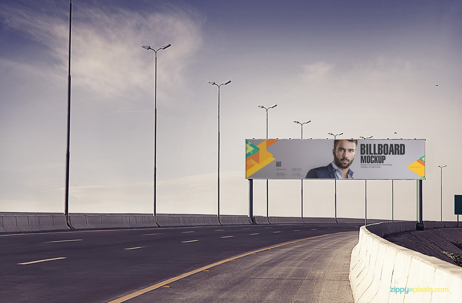 Present your advertisement design on highway billboard mockup