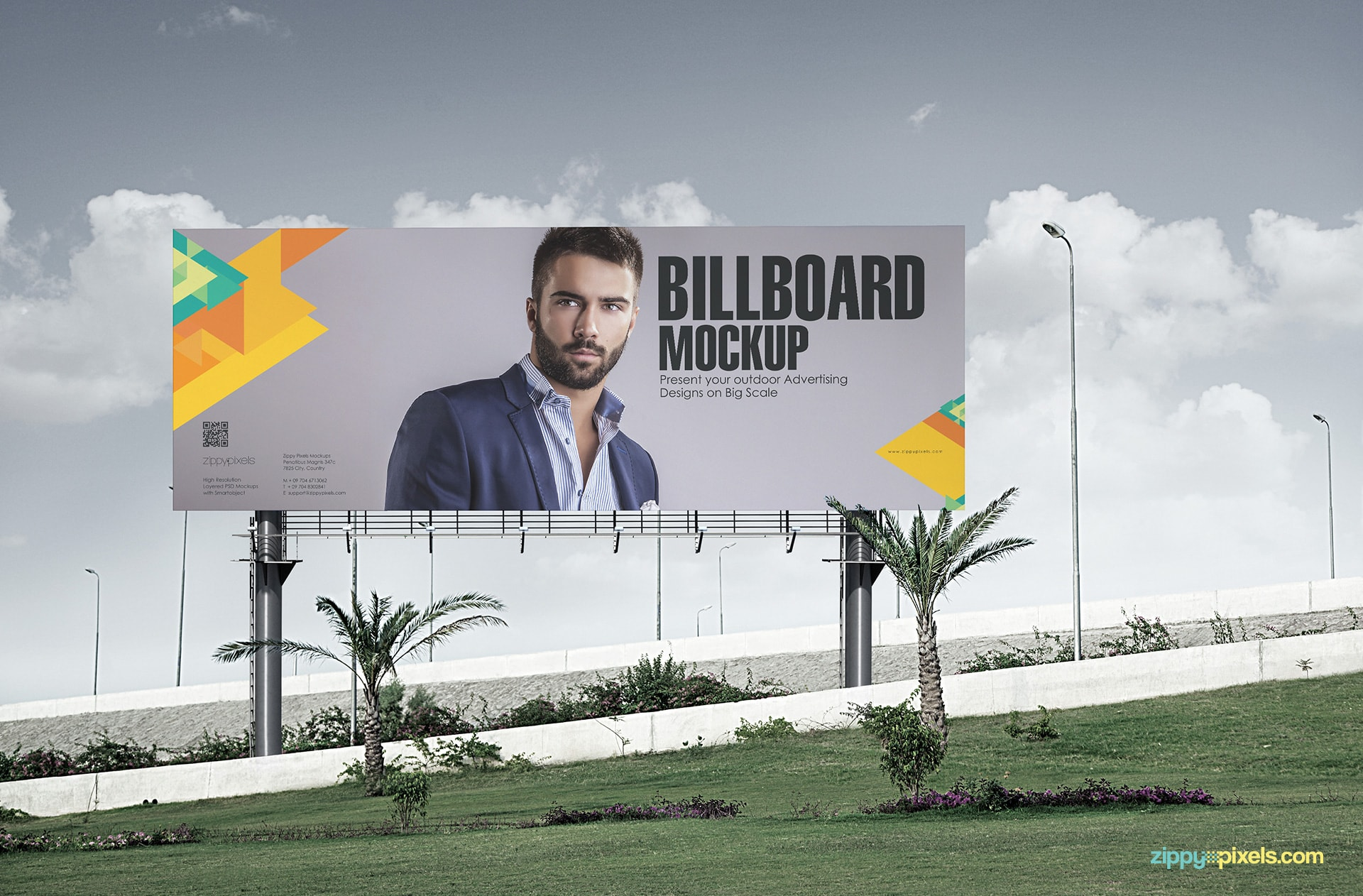 Billboard Mockup showing a super size billboard