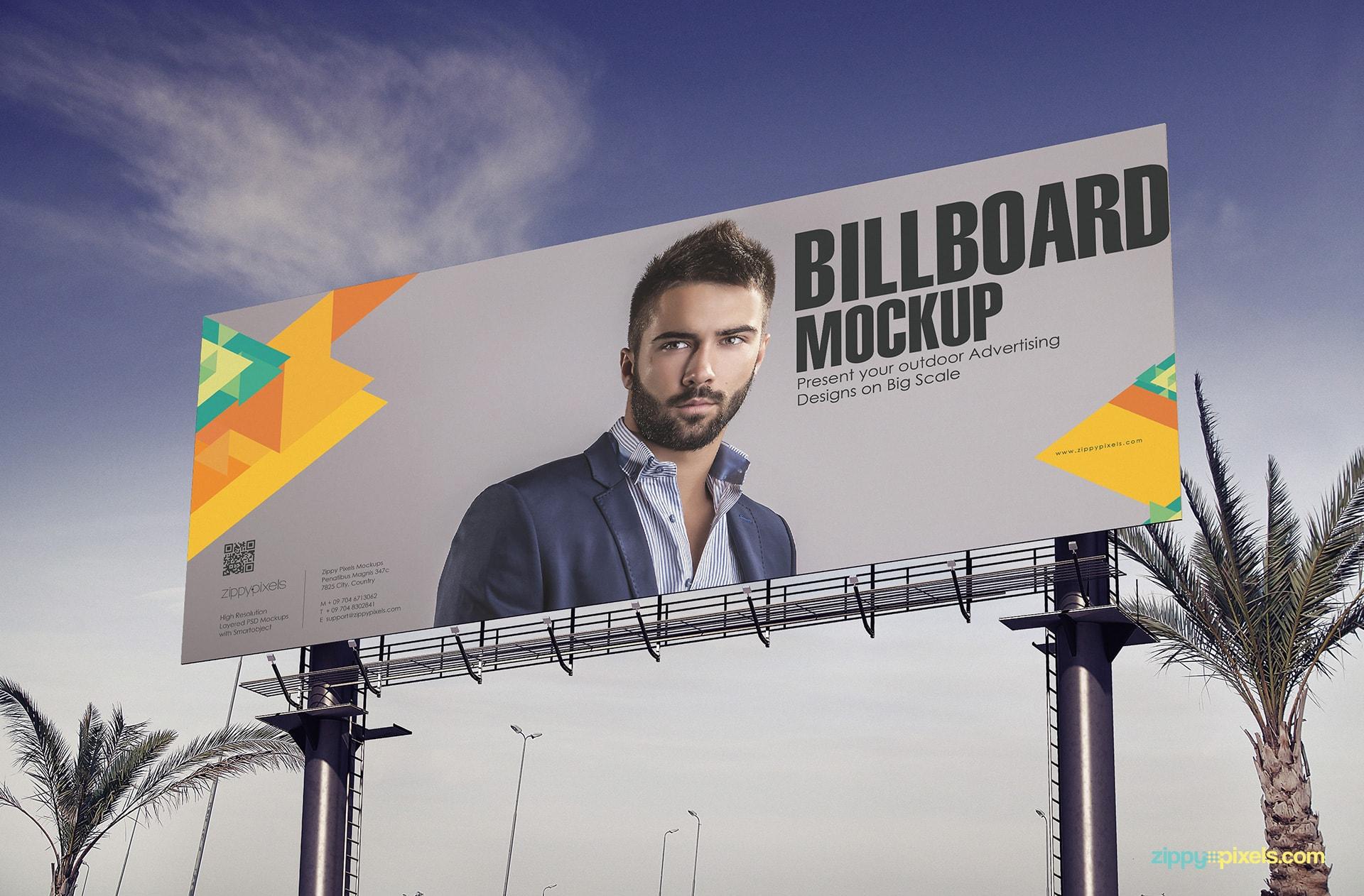 Billboard Mockup - Closeup low angle view of large billboard
