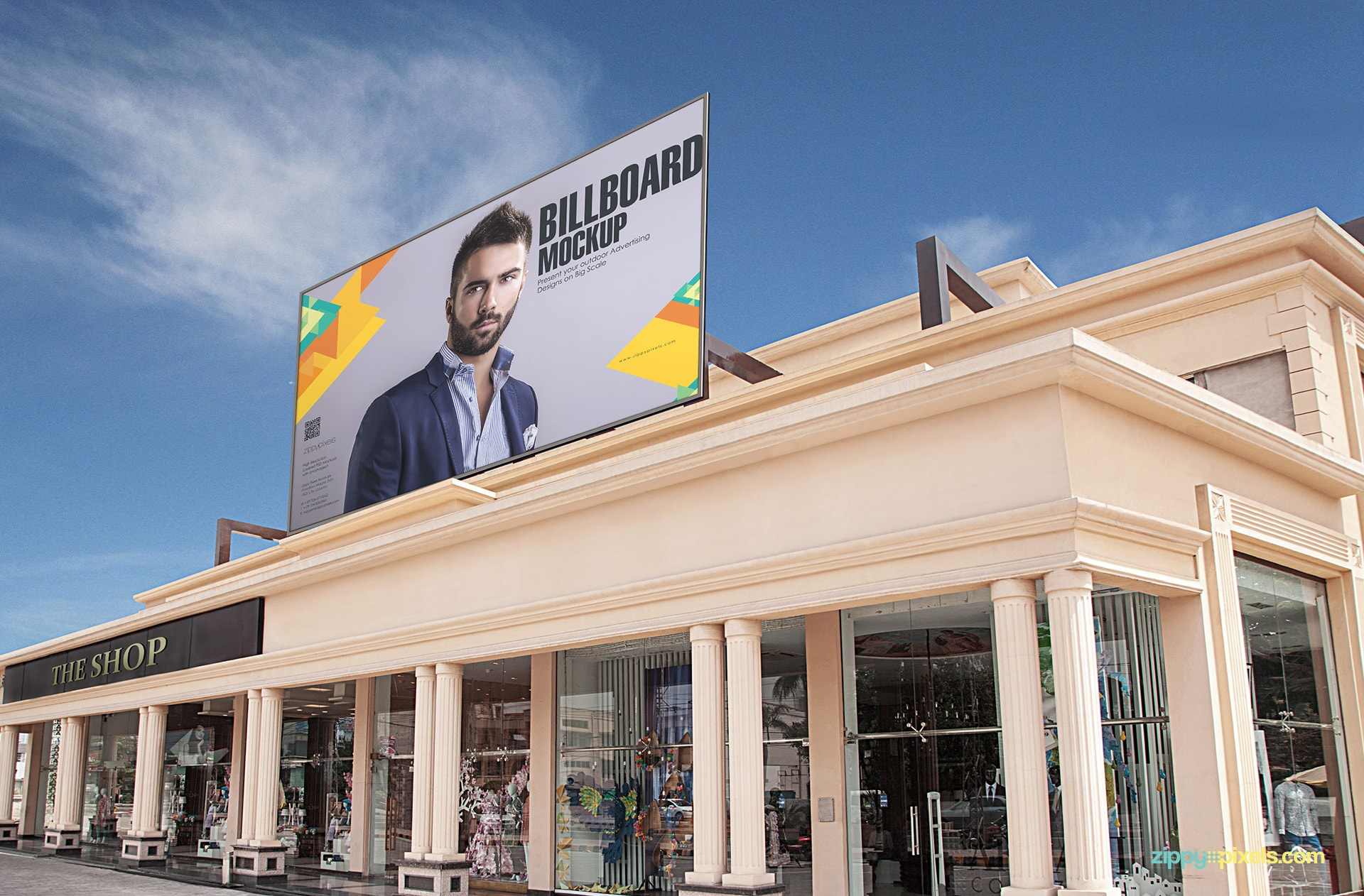 Billboard PSD mockup showing a billboard on shopping mall for outdoor advertising