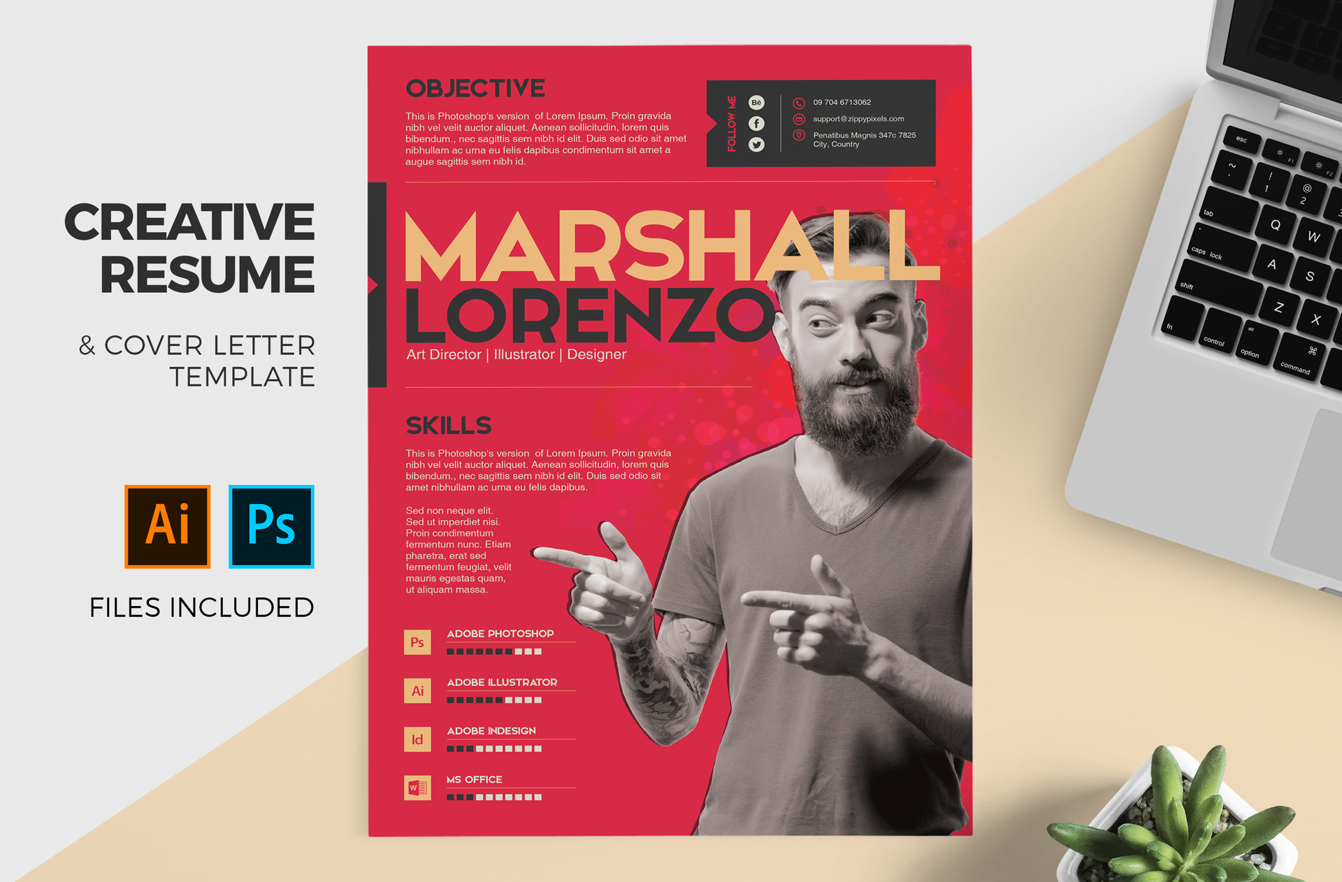 Creative Resume Cover Letter Template For Designers PSD AI