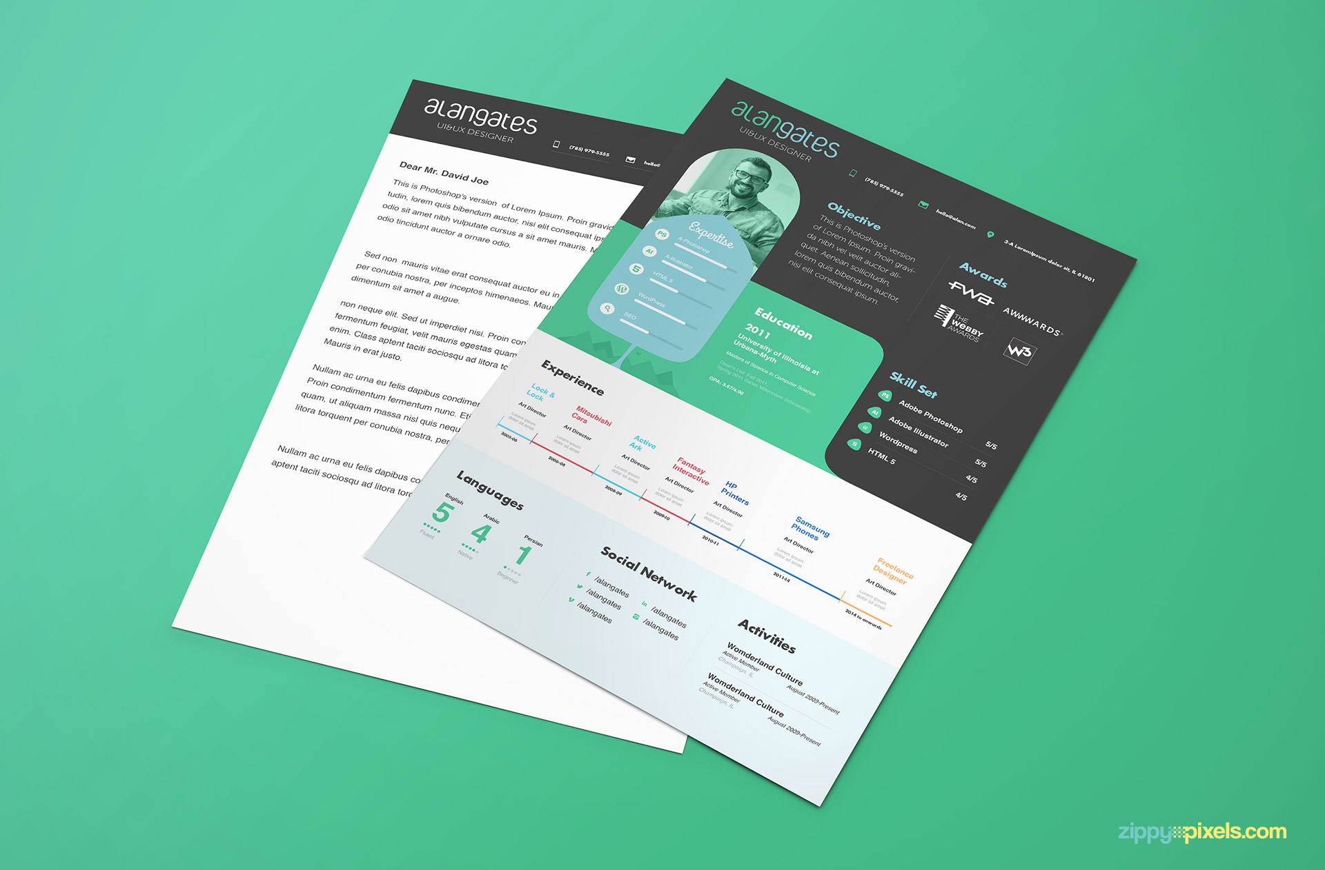 Modern Resume and Cover Letter PSD Template