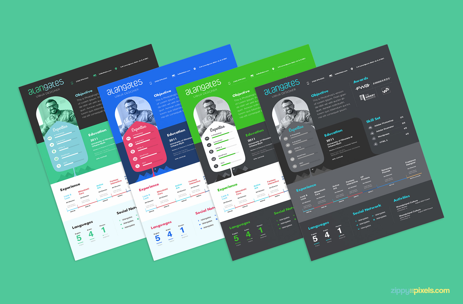 4 Beauitul Colors Of Modern Resume PSD Template