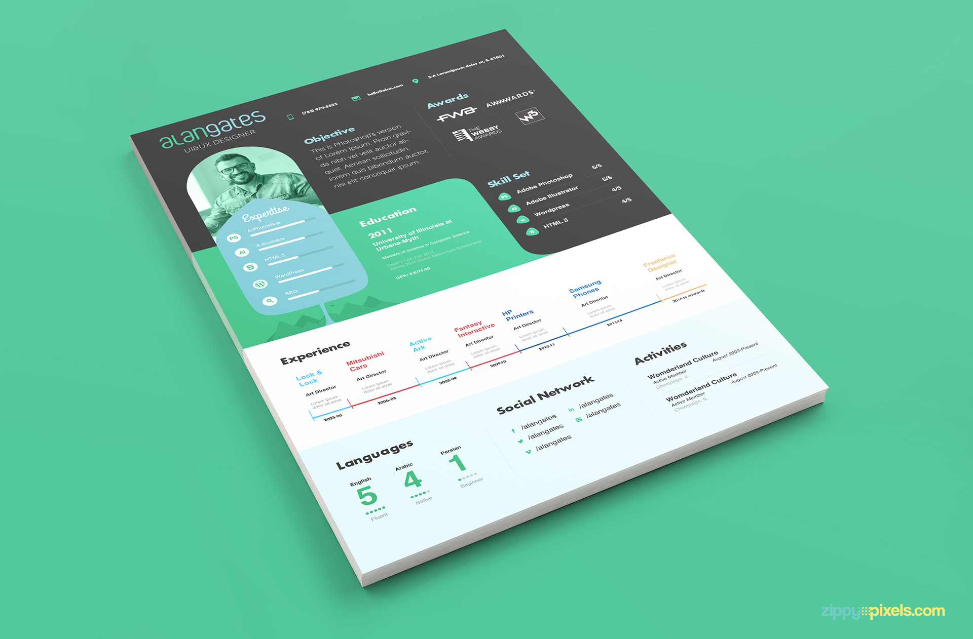 Modern PSD Resume Template in Green and Black Color