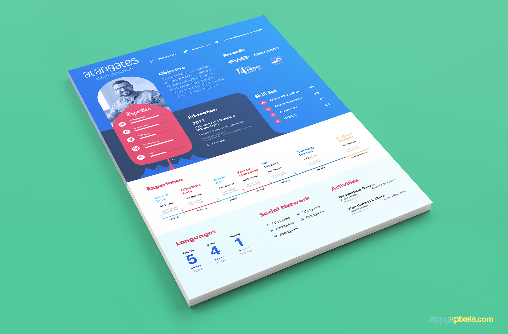 Awesome Resume Template in Modern Design Blue and White Color