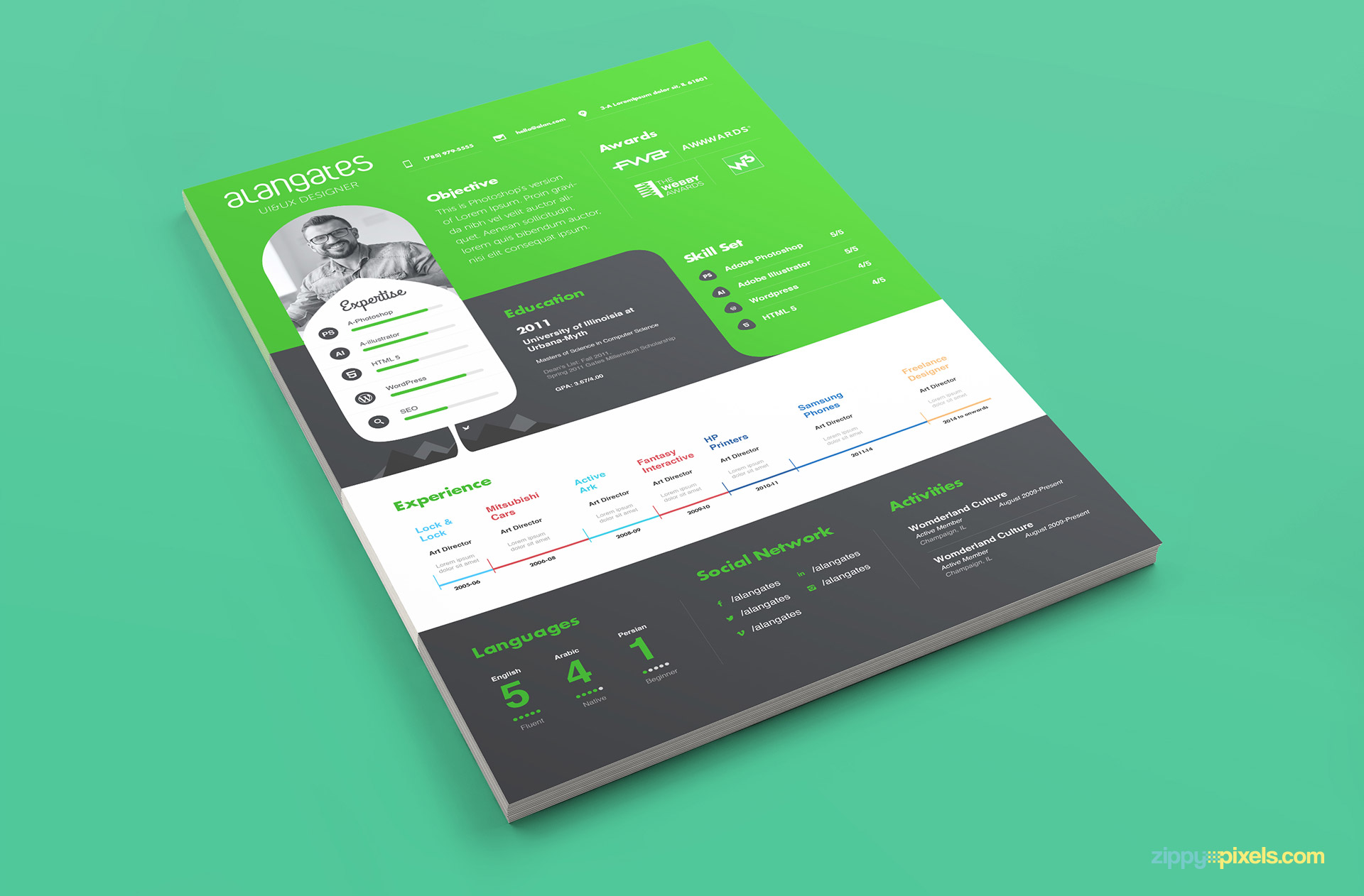 Beauitful Green and White Color Resume Template PSD