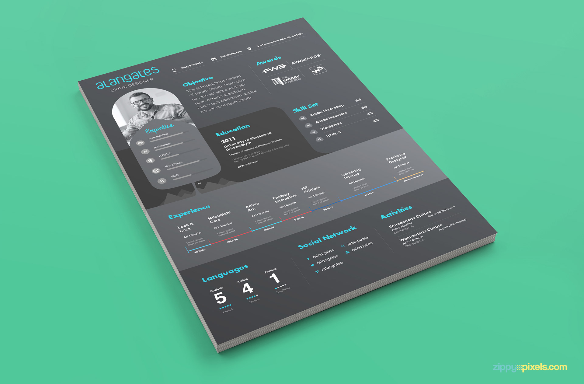 Gray & Black Modern Resume PSD Template