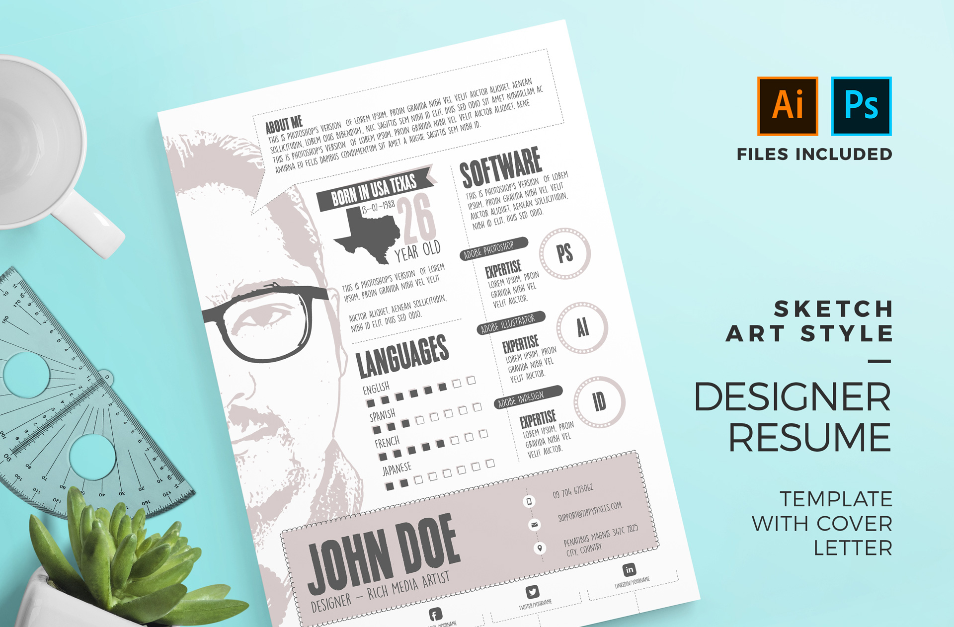 Sketch Art Style Designer Resume Template With Cover Letter PSD AI