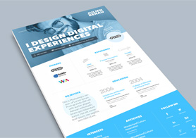 One Page Resume and Cover Letter PSD Template in 4 Colors
