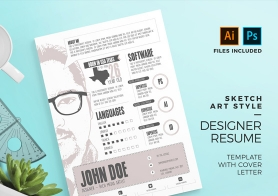 Sketch Art Style Designer Resume Template with Cover Letter (PSD & AI)