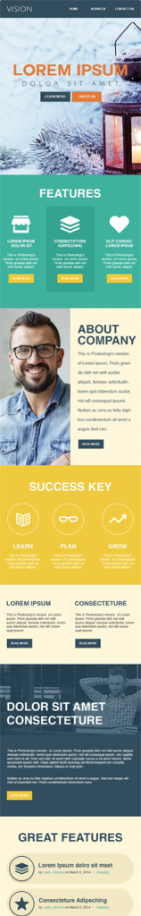 vision first half business e-newsletter template