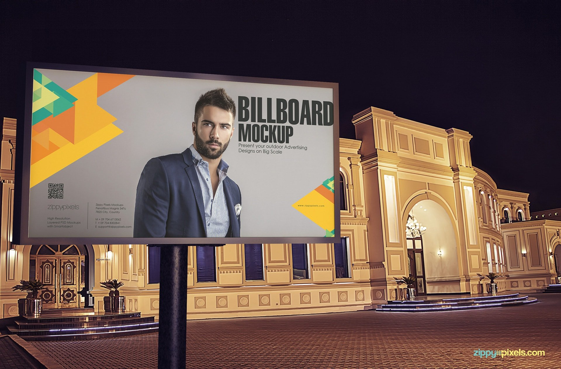 Medium size billboard with a beautiful building in the background