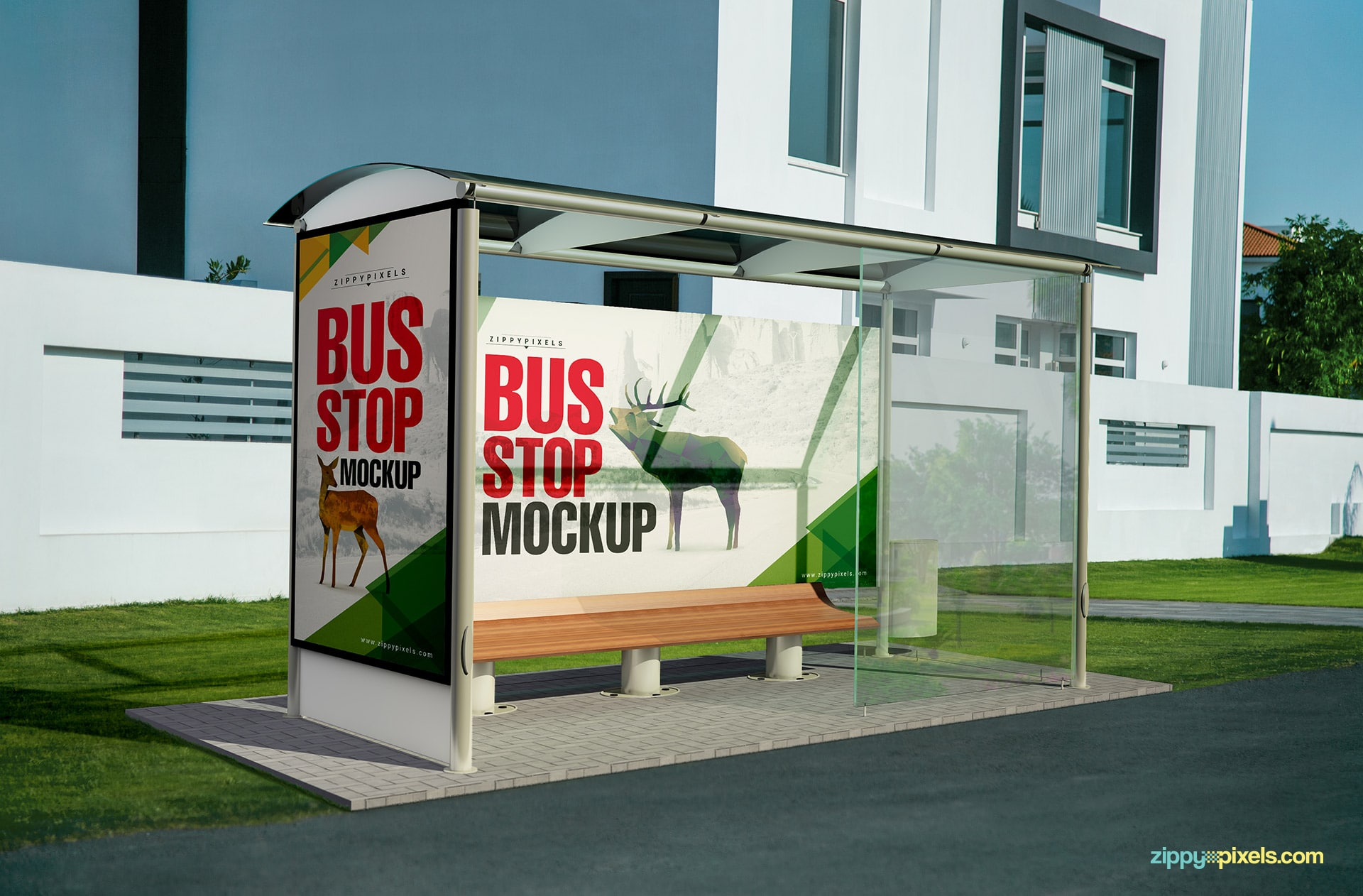 A complete bus stop mockup psd