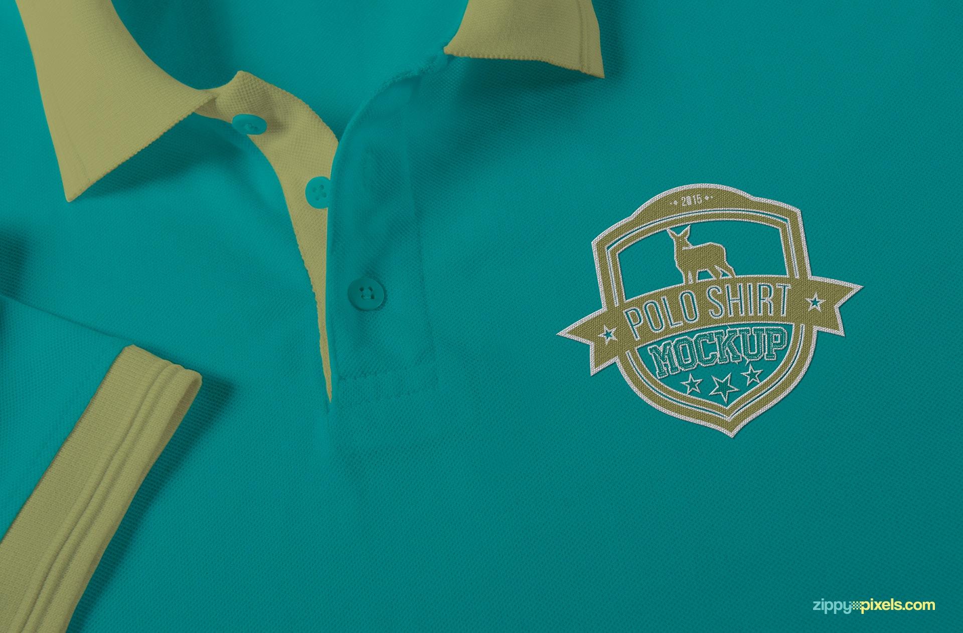 Polo shirt mockup PSD with customization options