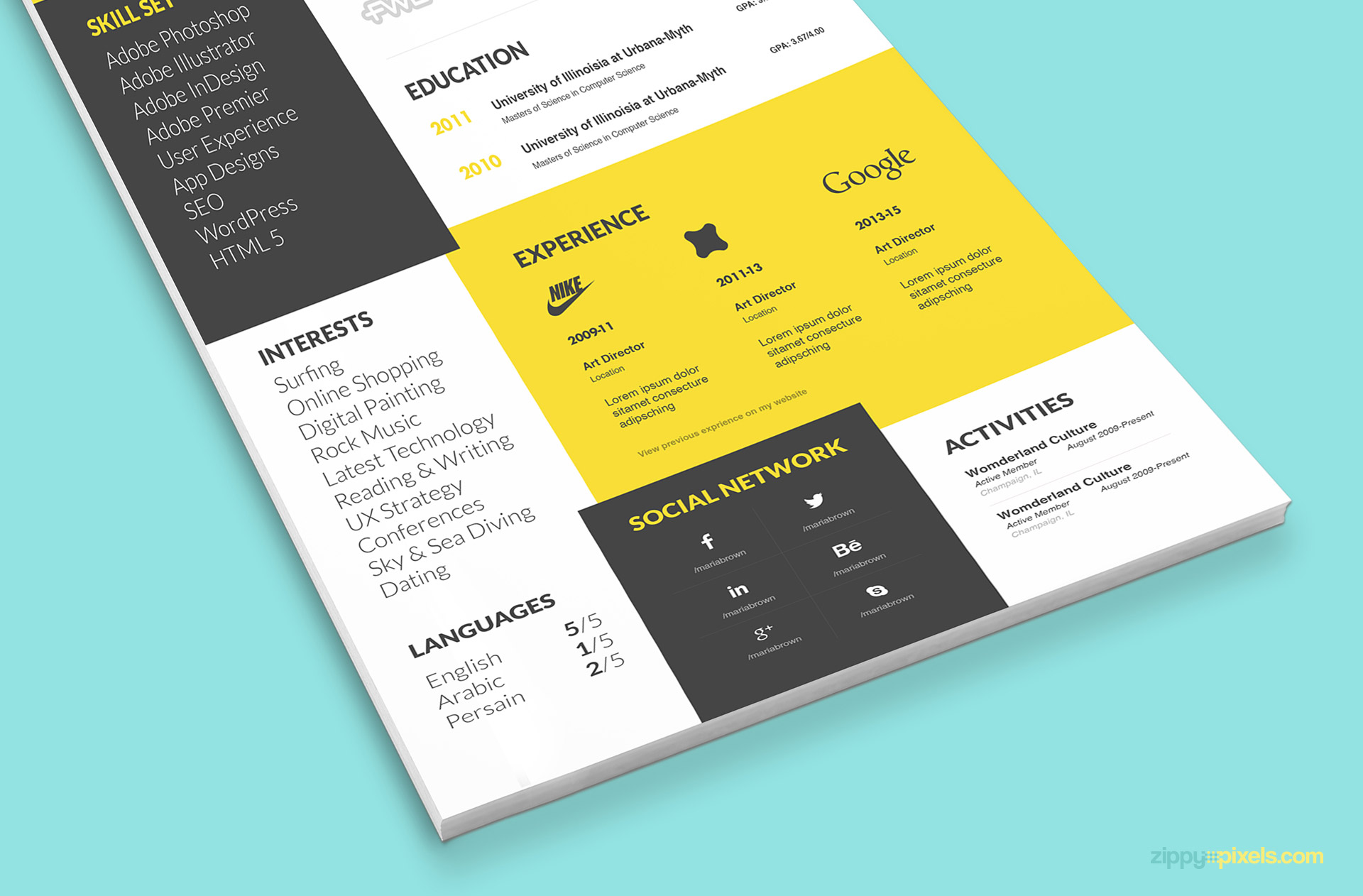 psd resume template with unique visual appeal - Unique Resume Templates
