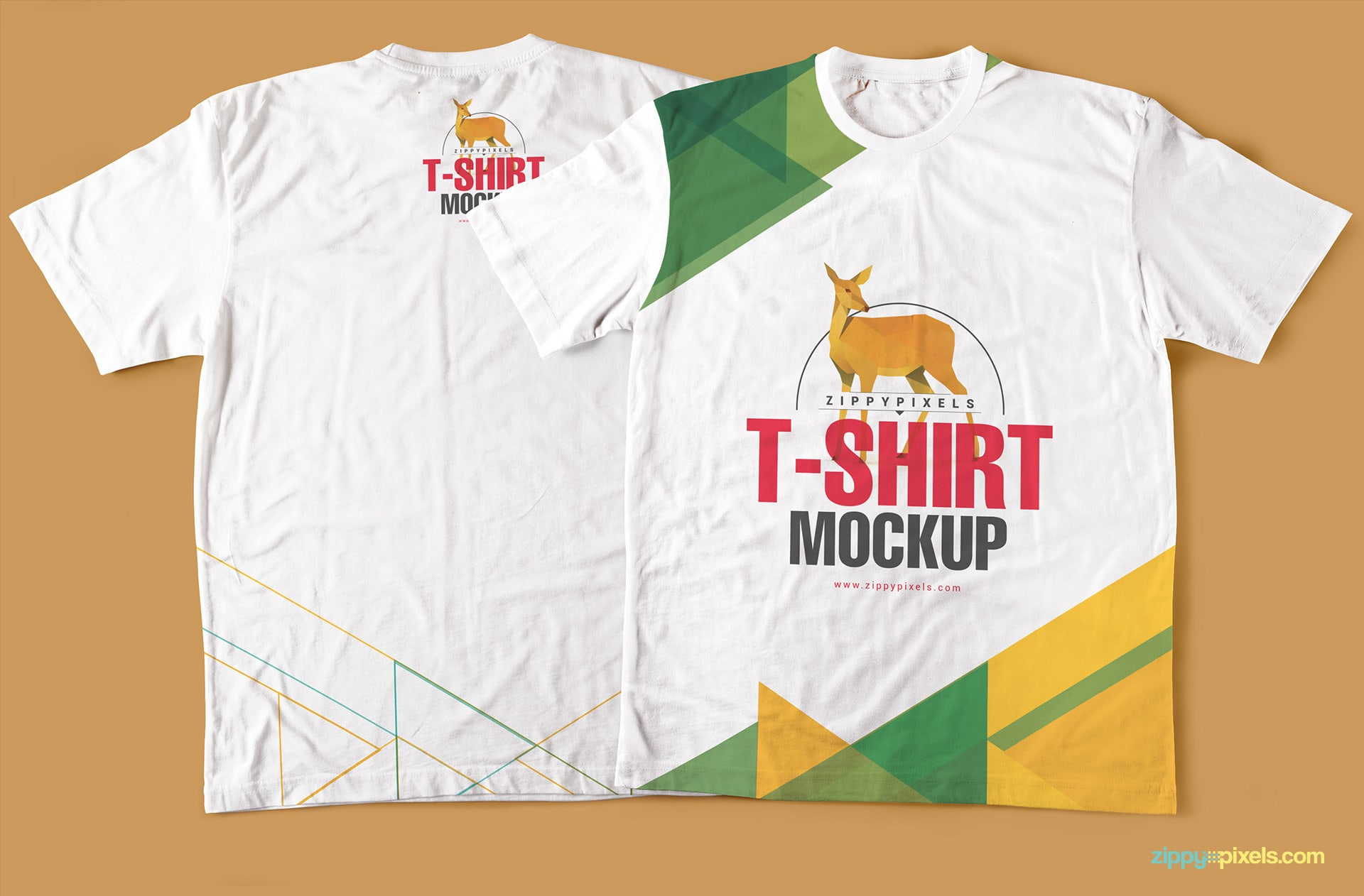complete front and back tee shirt mockup