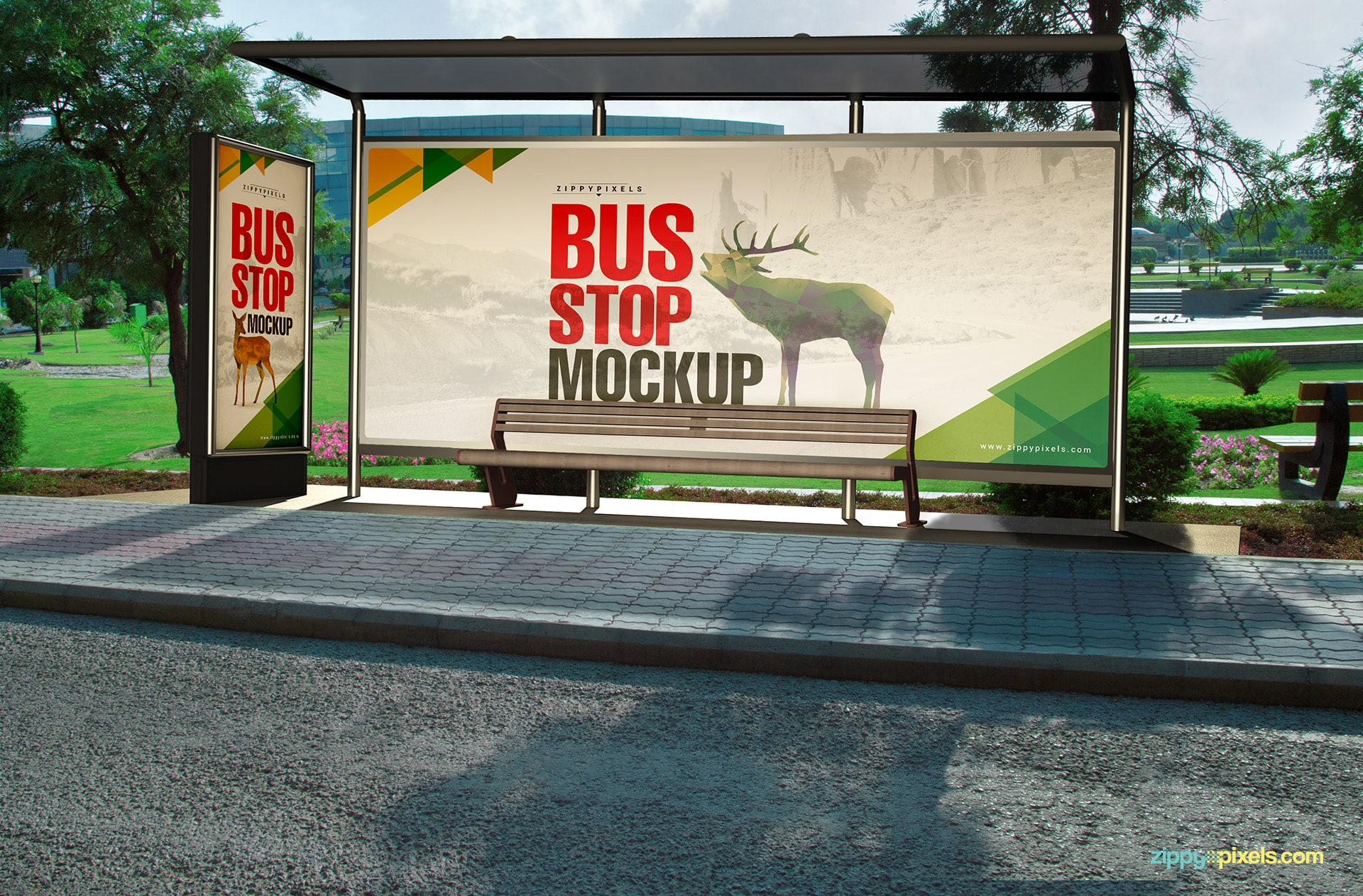High quality outdoor advertising bus stop mockups