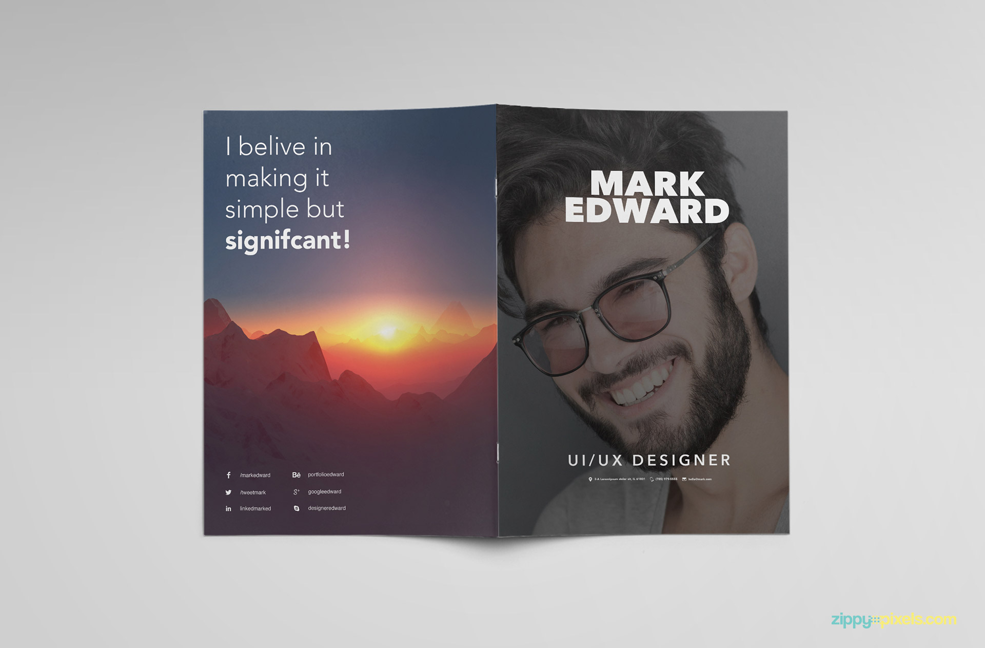 Unique resume template PSD to present your skills.