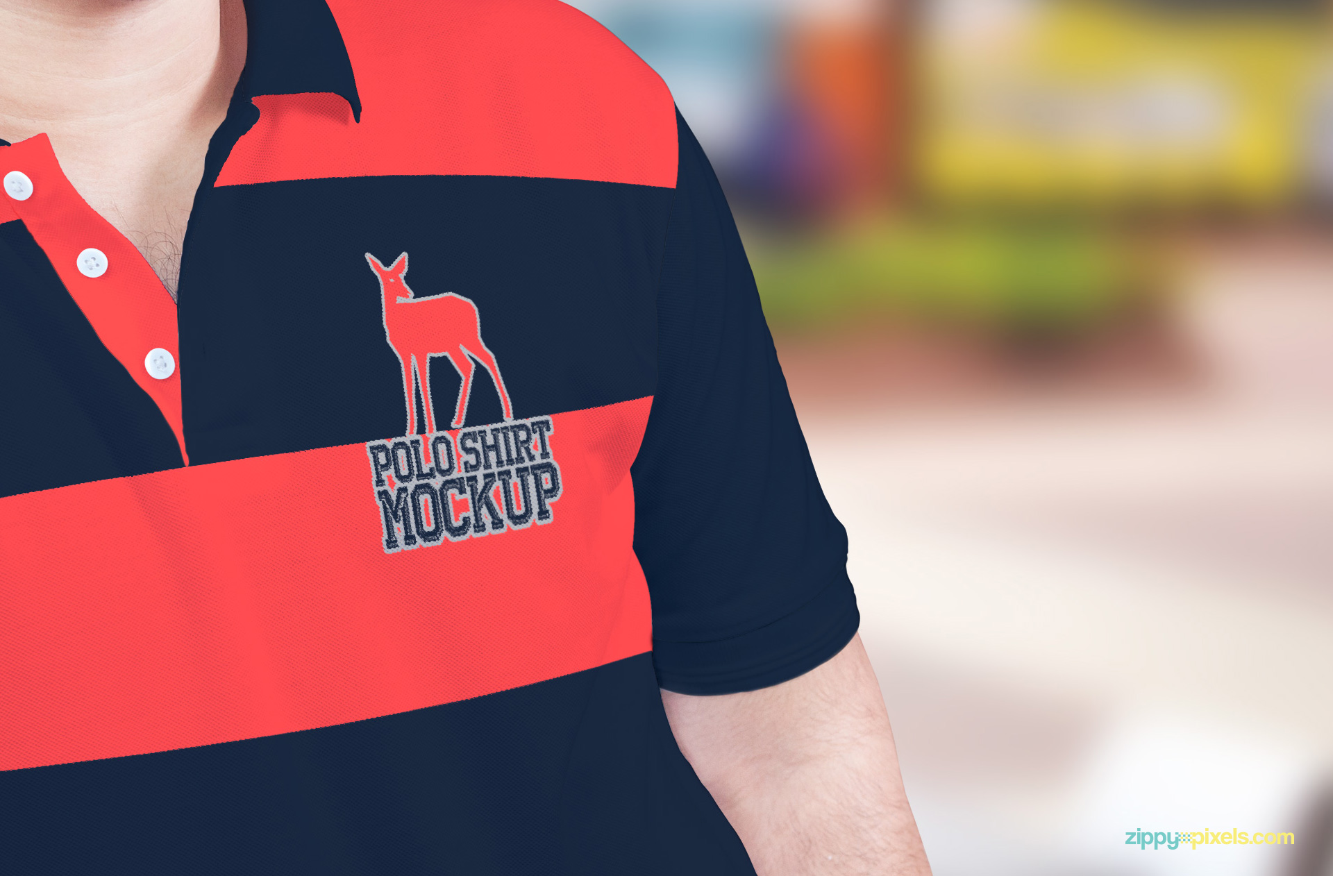 Close-up of the free polo shirt PSD mockup