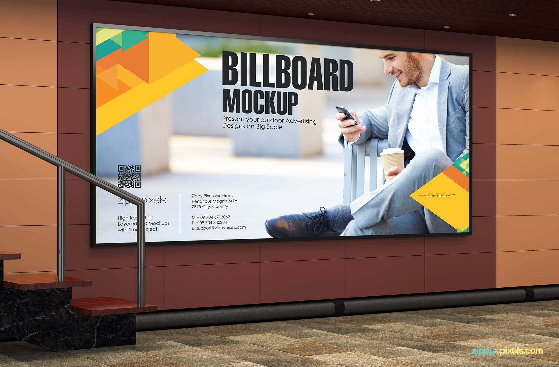 Wide billboard mockup psd in a subway setting.