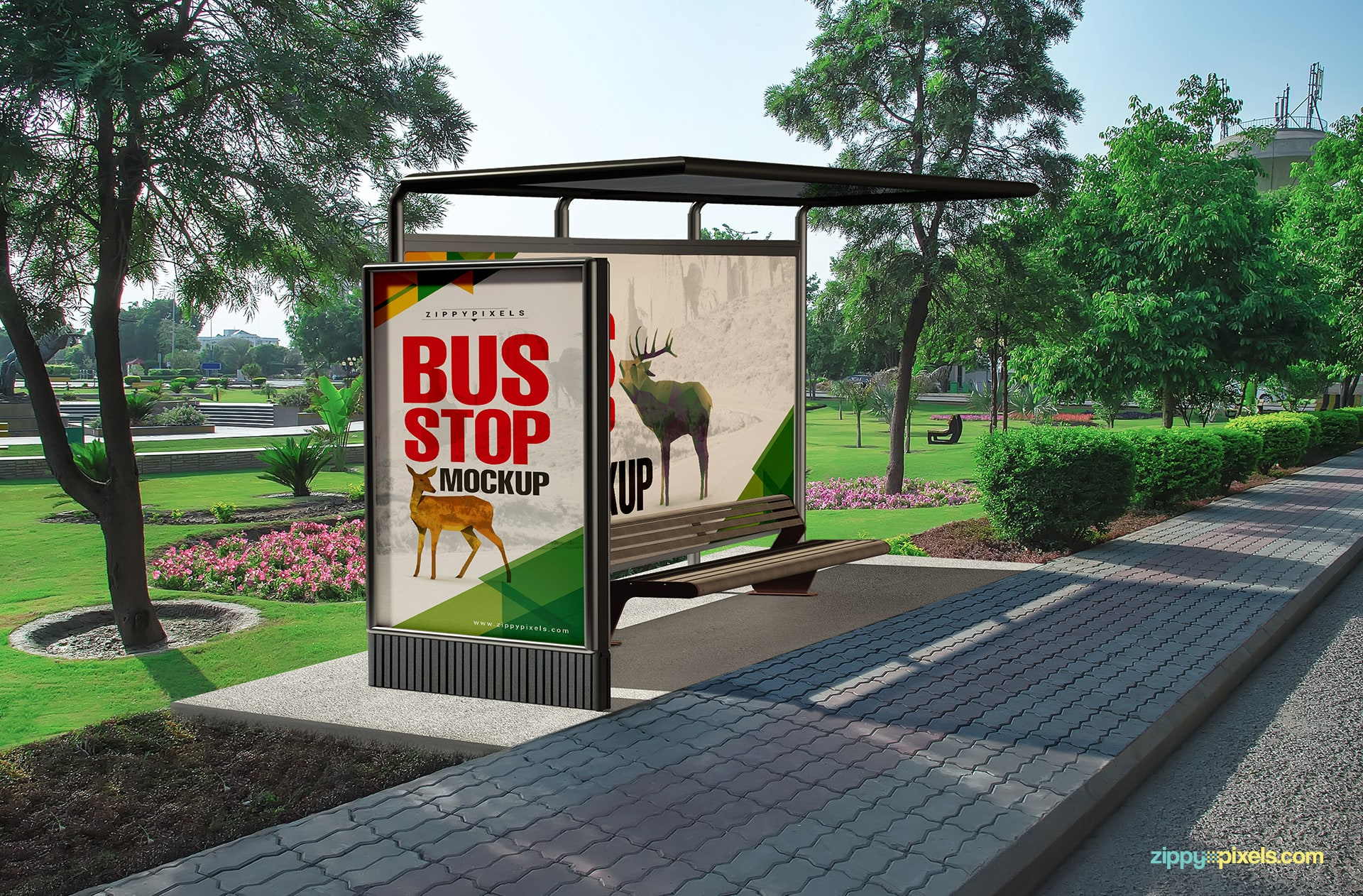 Bus stop mockup paired with a remarkable view