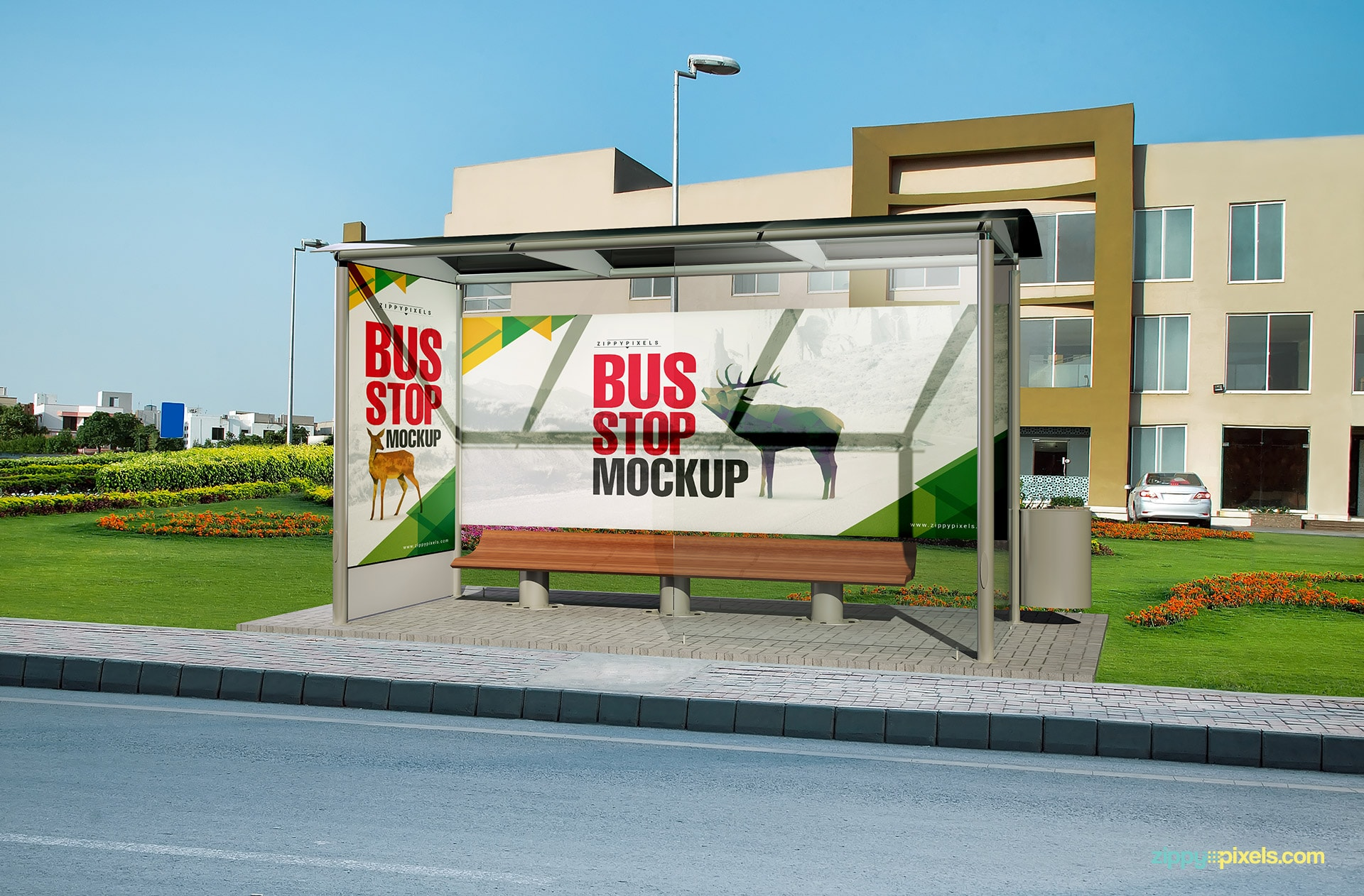 Bus shelter mockup with 2 portions for design replacement