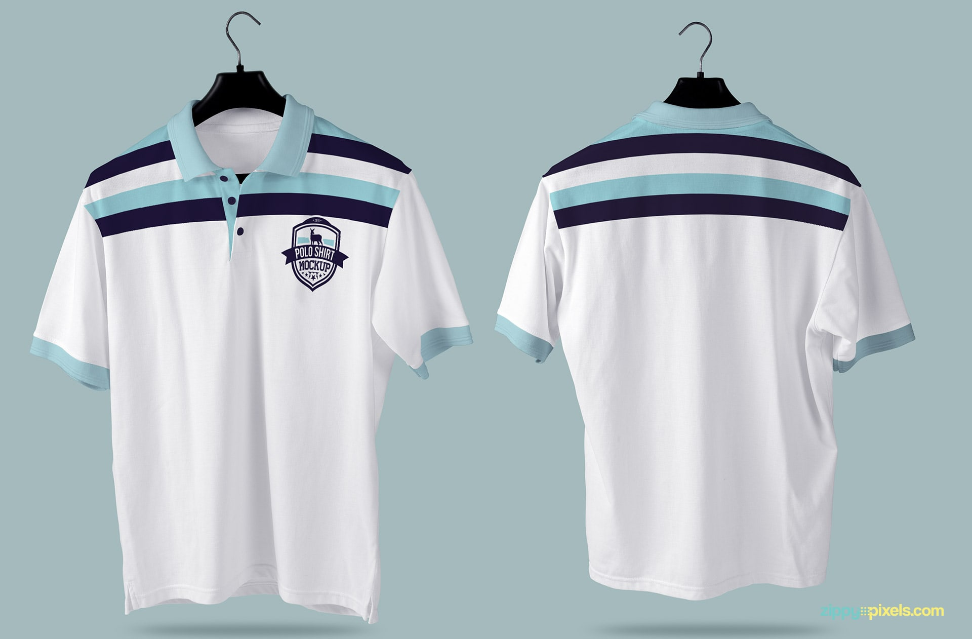 A hanging polo shirt mockup with a back and front view