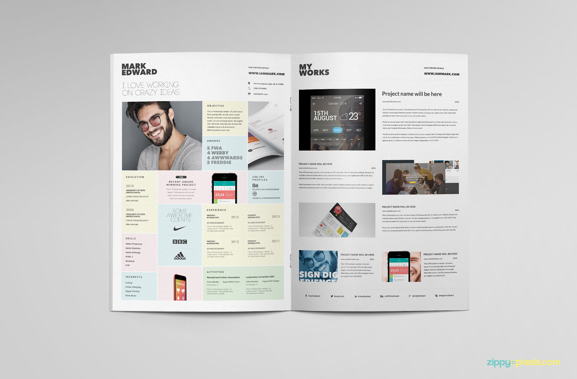 Modern PSD cv template with the perfect visual design.