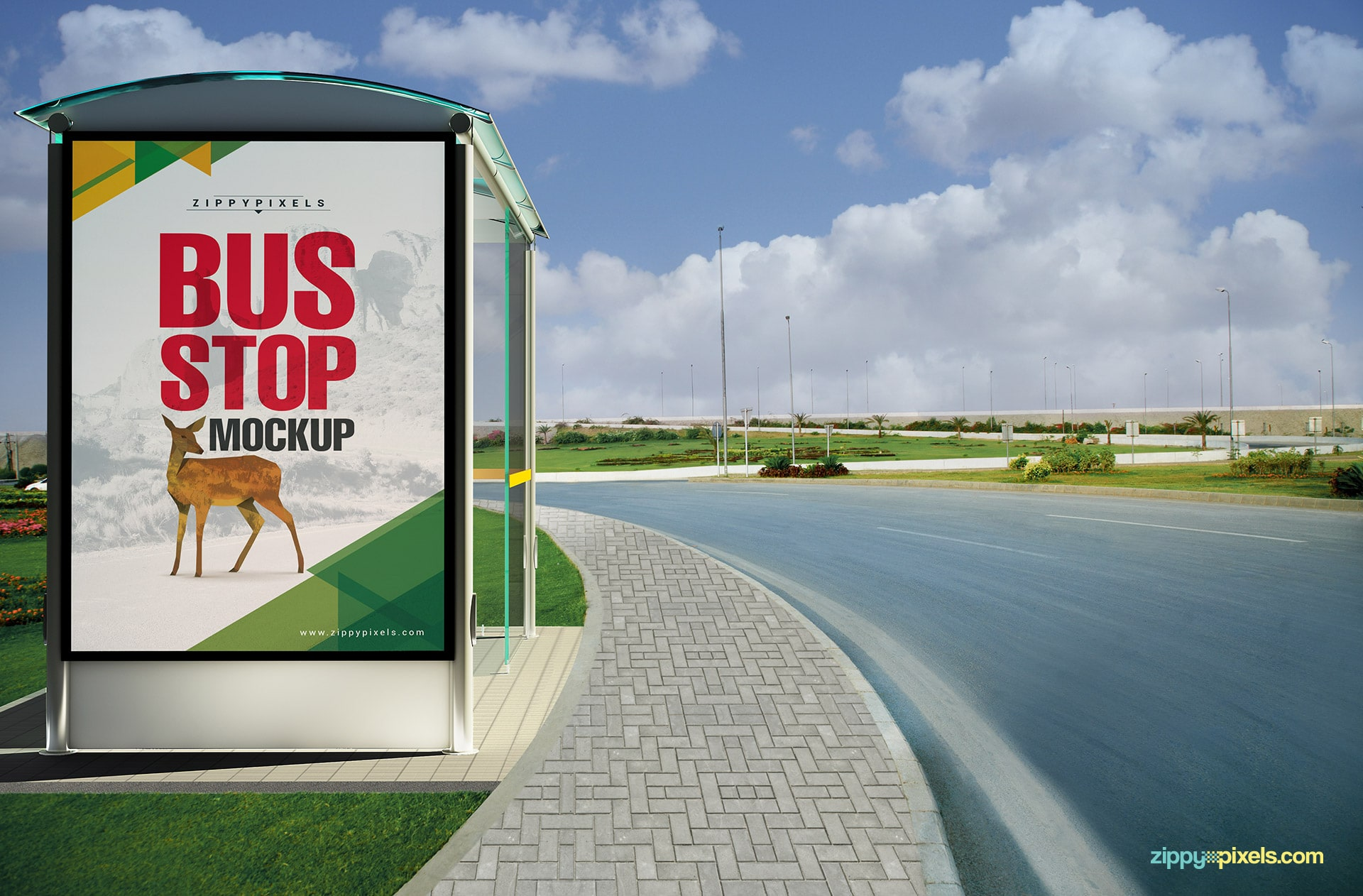 A bus stop advertisiment mockup