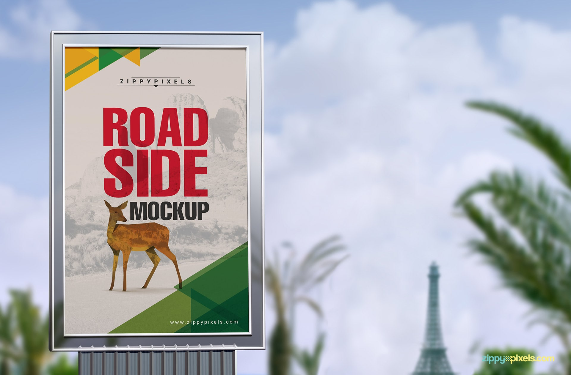 Foused road side poster mockup with a beautiful background.