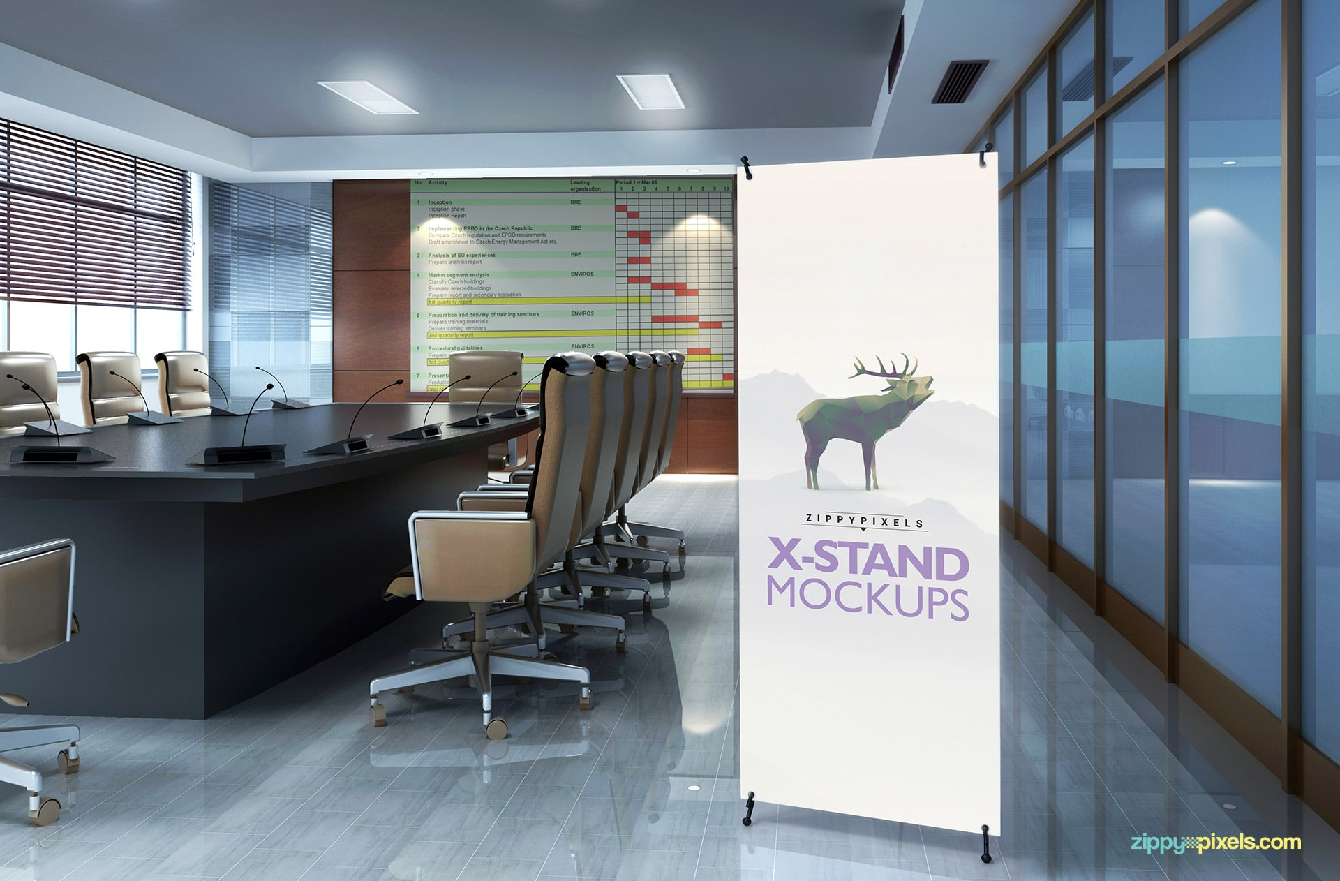 X-display banner in a meeting room enviroment.