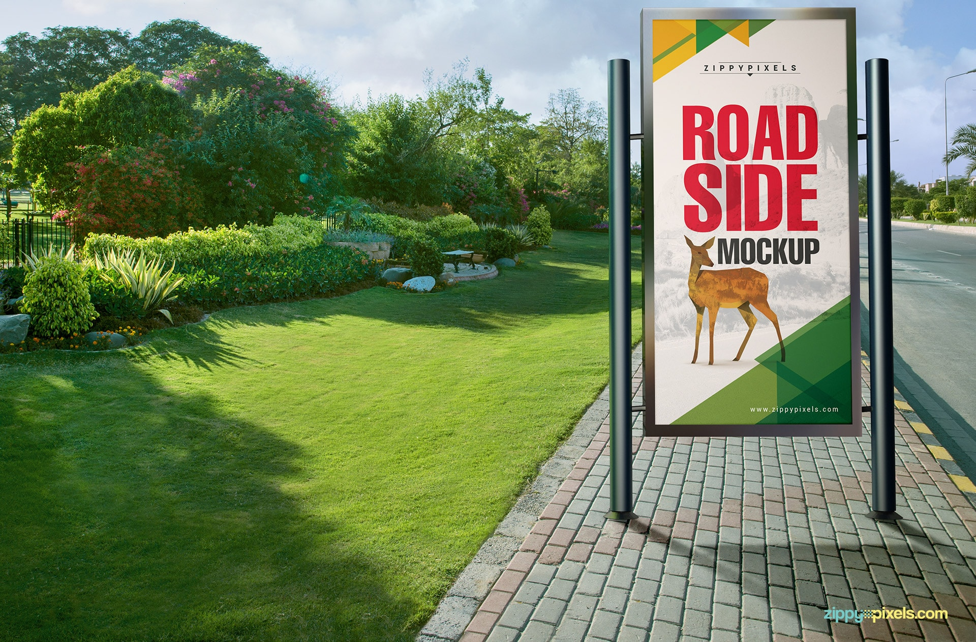 A vertical road side poster mockup