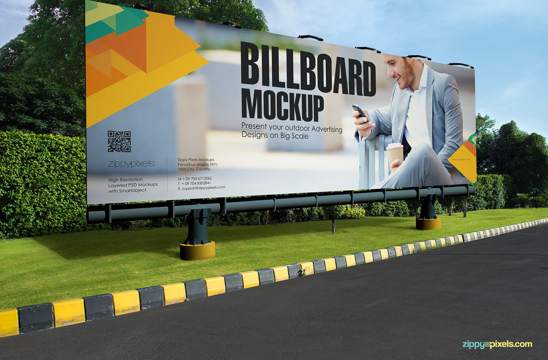 Outdoor billboard mockup with a huge advertising space.