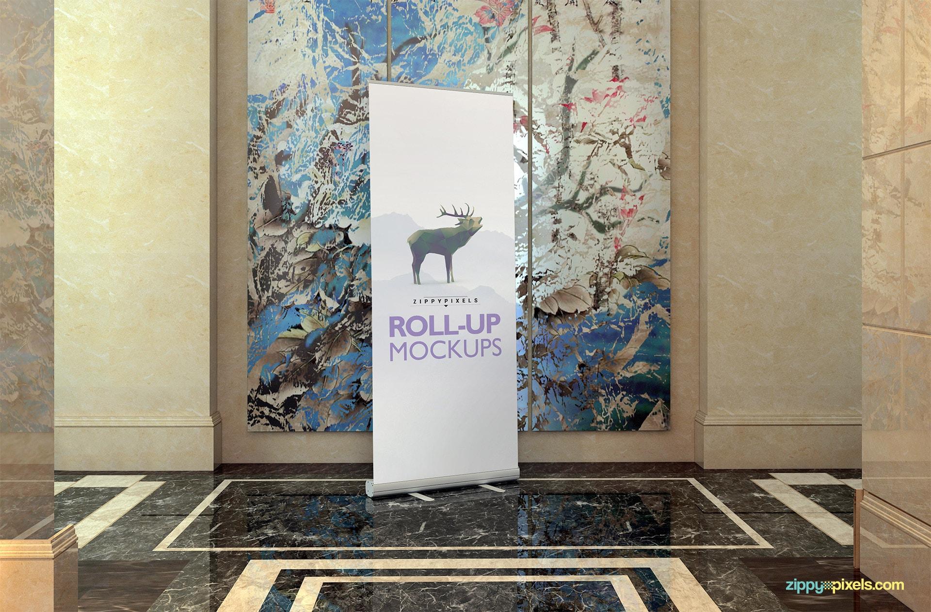 Elegant roll-up banner mockup psd.