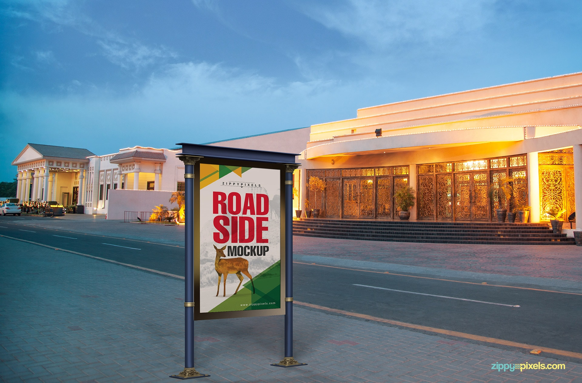 Ideally placed road side ad mockup
