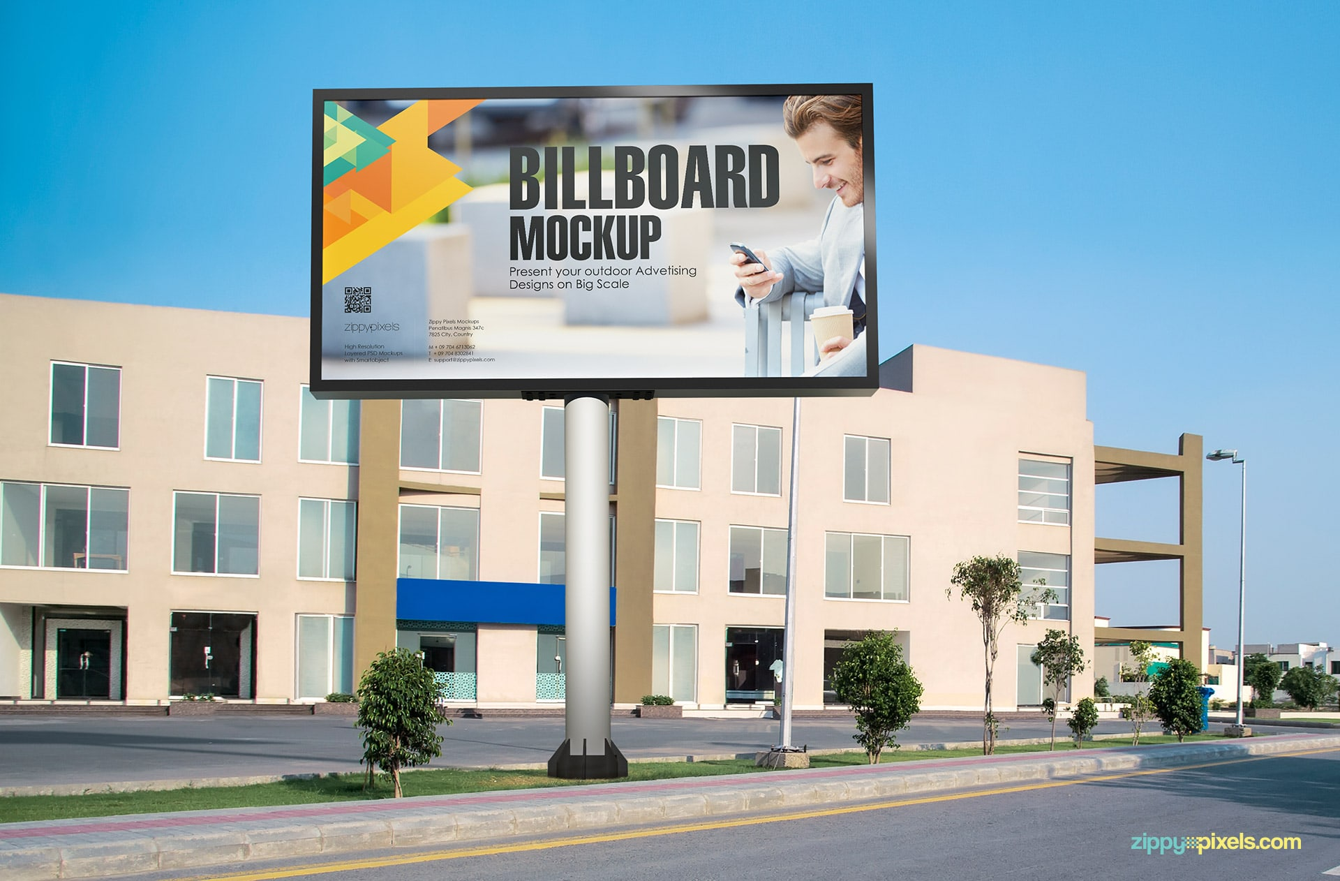 Highly detailed outdoor billboard mockup.