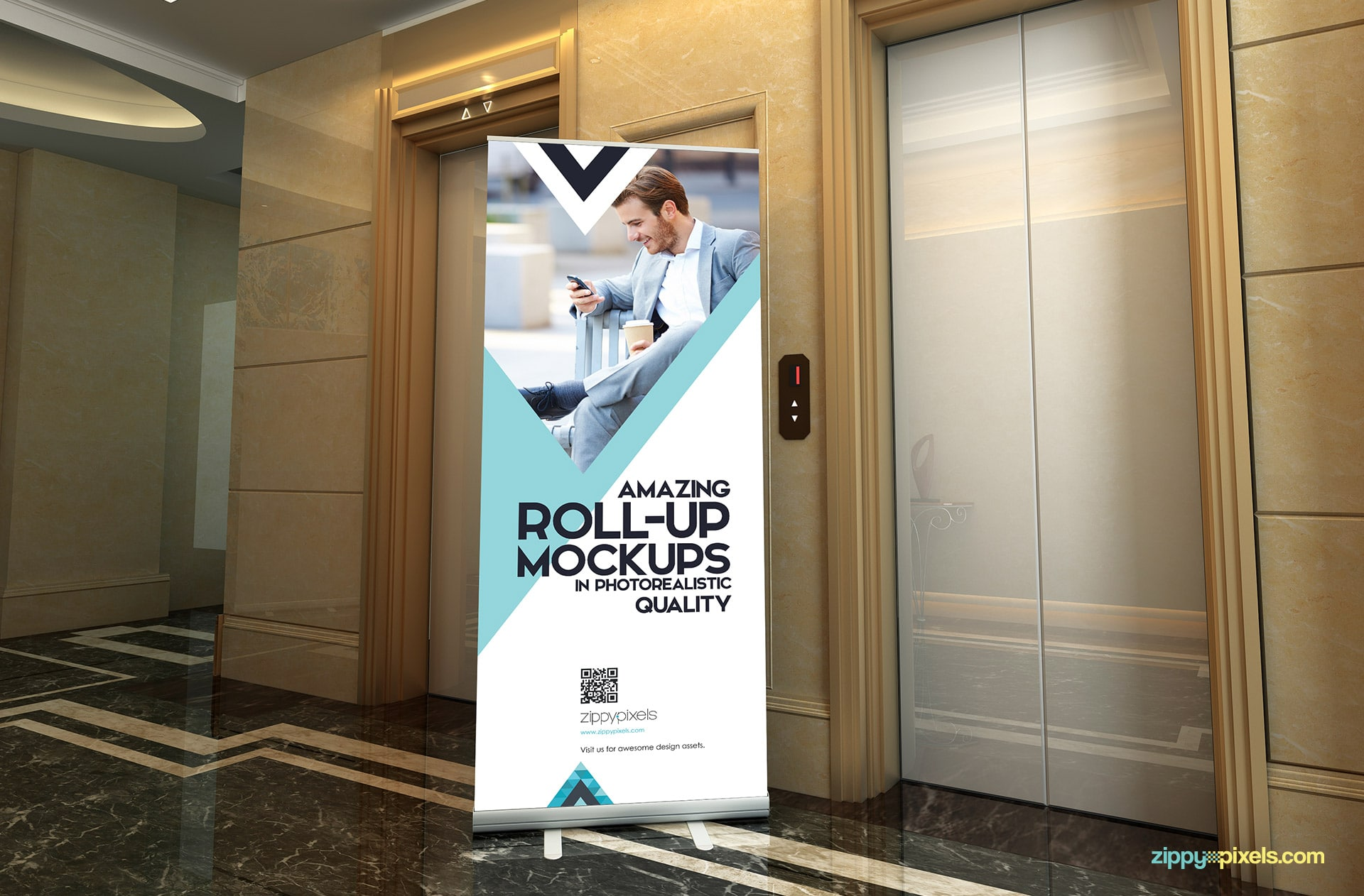 Picture perfect pop-up banner mockup for your ad designs.